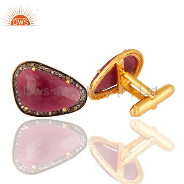 Exporter Pave Diamond Ruby Gemstone Sterling Silver Cufflink Finding Gift Jewelry