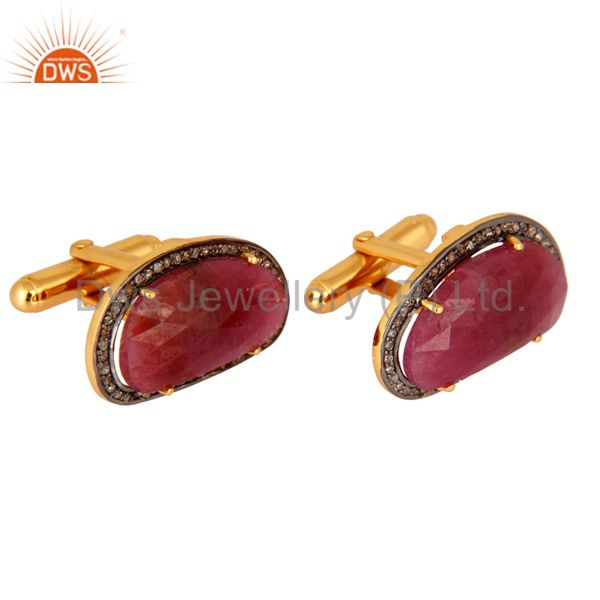 Exporter Gold Plated Sterling Silver Ruby Gemstone Pave Diamond High Fashion Cufflinks