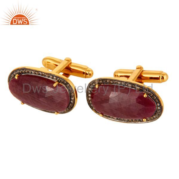 Exporter 18K Gold Plated Sterling Silver Ruby Gemstone Diamond Cufflinks Mens Jewelry