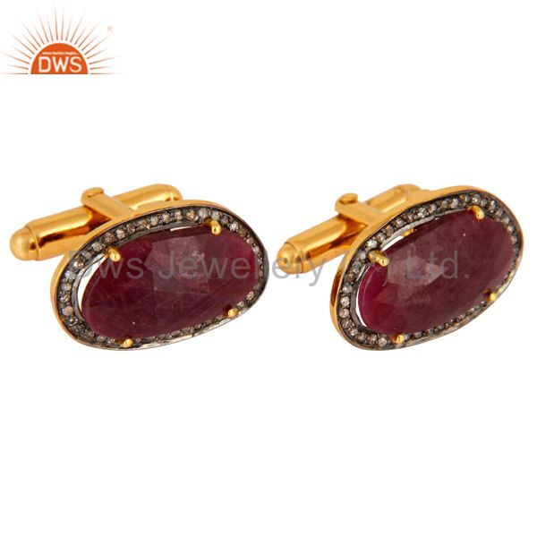 Exporter Victorian Style Pave Set Diamond Mens Ruby Cufflinks In 18K Gold Over Silver