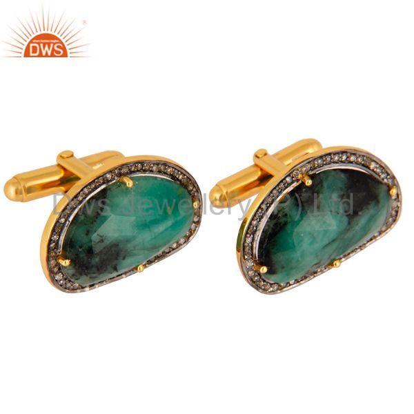 Exporter 925 Sterling Silver Emerald Gemstone Pave Diamond Mens Cufflinks Jewelry