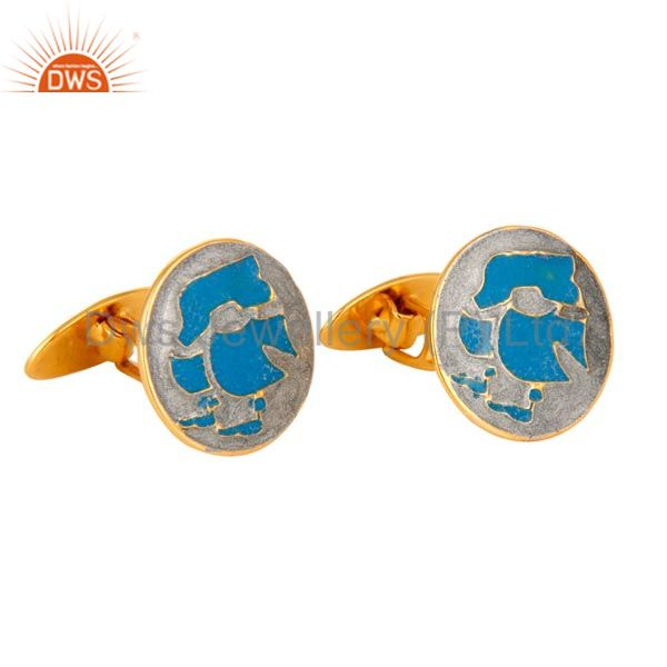 Exporter Indian Designer Sky Blue Enamel Cufflinks in Sterling Silver With Gold Plated