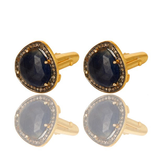 Exporter Pave Diamond Blue Sapphire Cufflinks In 18K GOld Over Sterling Silver Jewelry