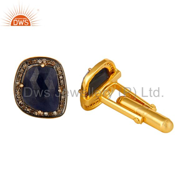 Exporter 18K Yellow Gold Plated Sterling Silver Pave Diamond Blue Sapphire Cufflinks