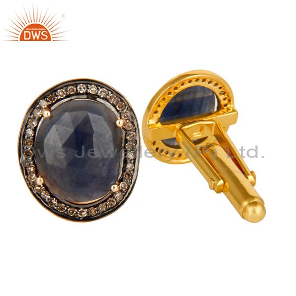 Exporter 18K Yellow Gold Sterling Silver Pave Diamond Blue Sapphire Cufflinks Jewelry