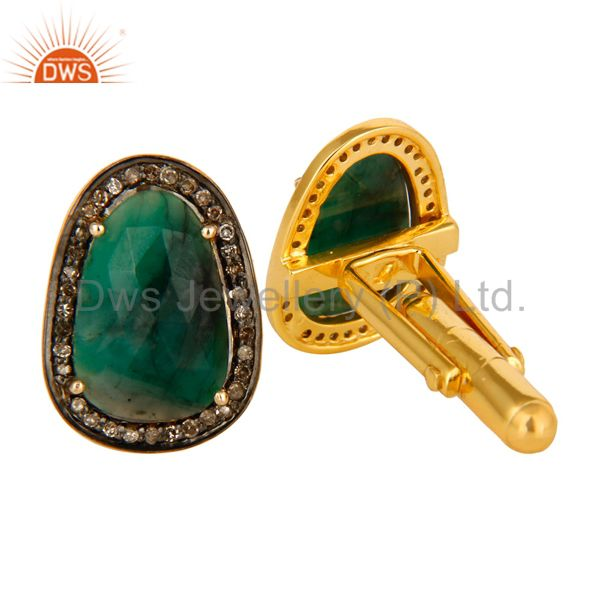 Exporter Natural Emerald And Pave Diamond 14K Yellow Gold And Sterling Silver Cufflinks