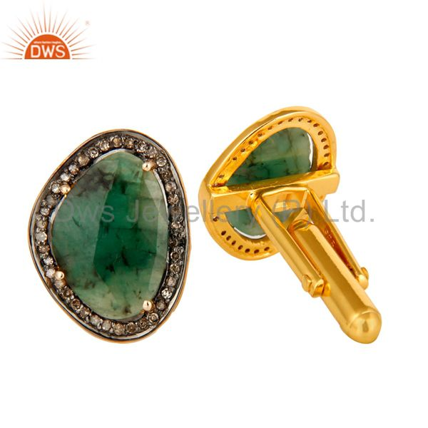 Exporter Faceted Emerald Pave Diamond 14K Solid Gold And Sterling Silver Cufflinks