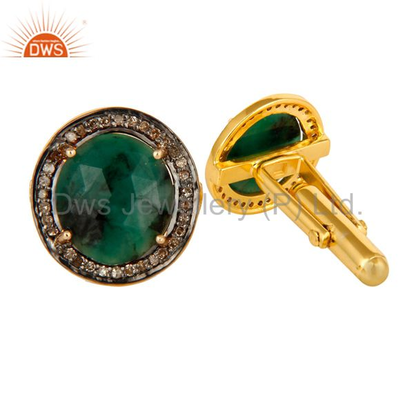 Exporter Genuine Emerald Gemstone 14K Yellow Gold And Sterling Silver Pave Diamond  Cuffl