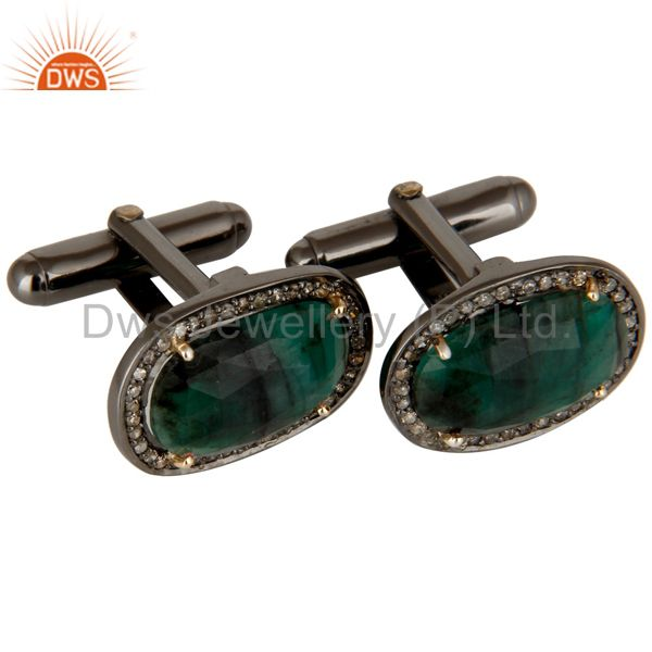 Exporter 14K Solid Yellow Gold Pave Diamond And Emerald Gemstone High Fashion Cufflinks