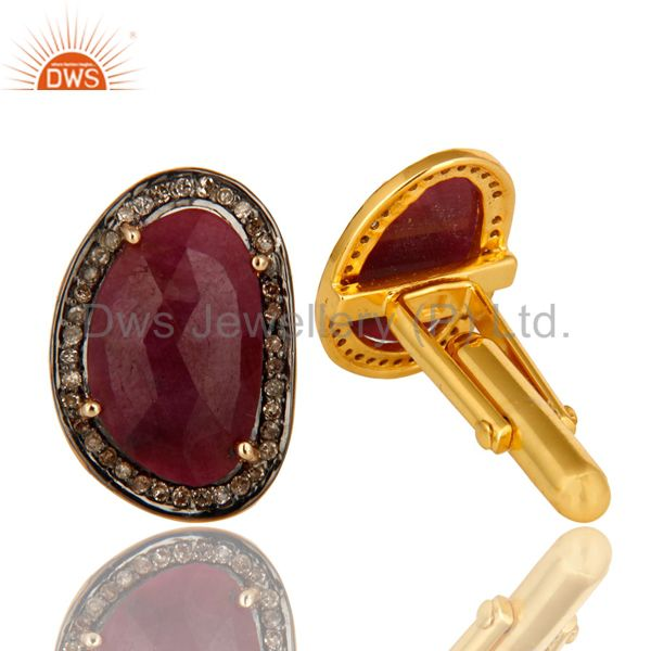 Exporter 14K Yellow Gold And Sterling Silver Pave Diamond Natural Ruby Mens Cufflinks