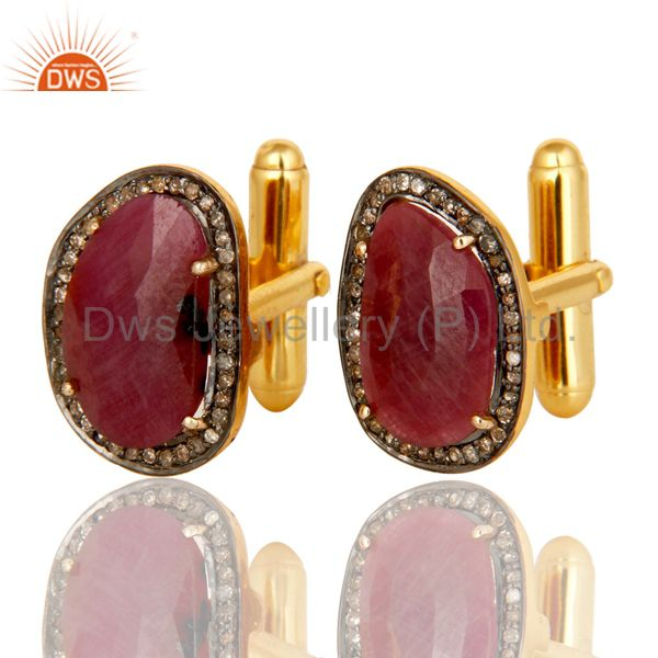 Exporter 14K Solid Yellow Gold Pave Set Diamond And Ruby Gemstone Mens Cufflinks