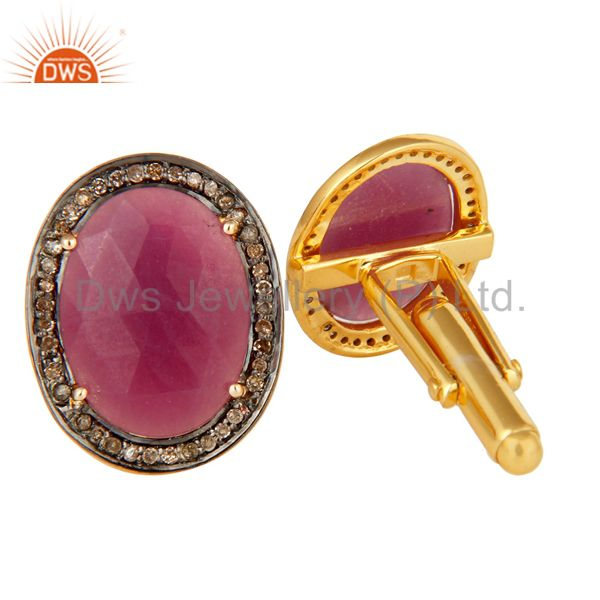 Exporter Solid 14K Yellow Gold Ruby Gemstone Pave Diamond Sterling Silver Cufflinks