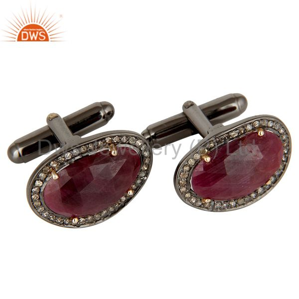 Exporter Solid 14K Yellow Gold Pave Set Diamond And Ruby Sterling Silver Mens Cufflinks