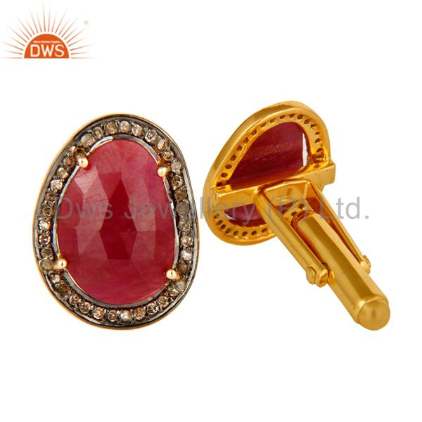 Exporter Natural Ruby Pave Set Diamond 14K Solid Yellow Gold Cufflinks Mens Gift Jewelry