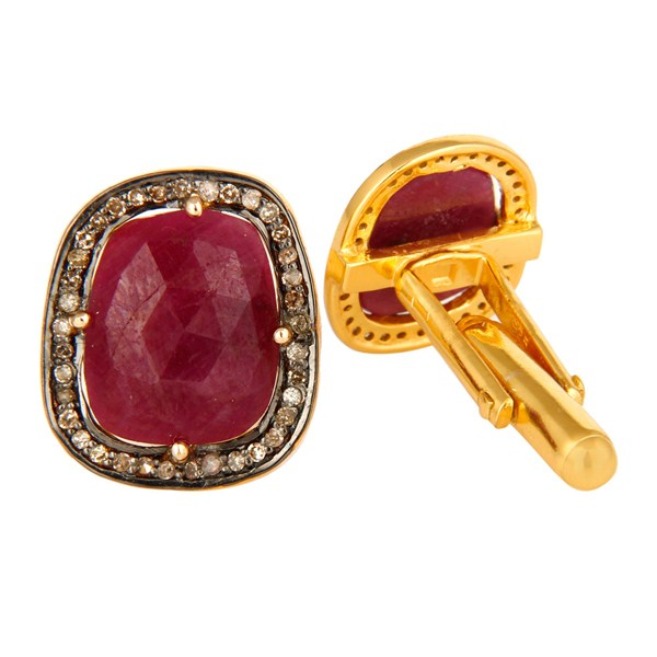 Exporter 14K Yellow Gold And Sterling Silver Genuine Ruby Pave Set Diamond Mens Cufflinks