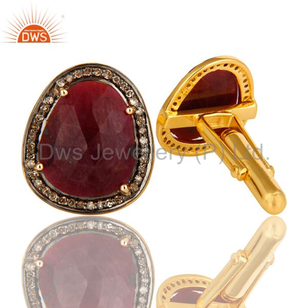 Exporter Genuine Ruby And Pave Diamond 14K Yellow Gold And Sterling Silver Cufflinks