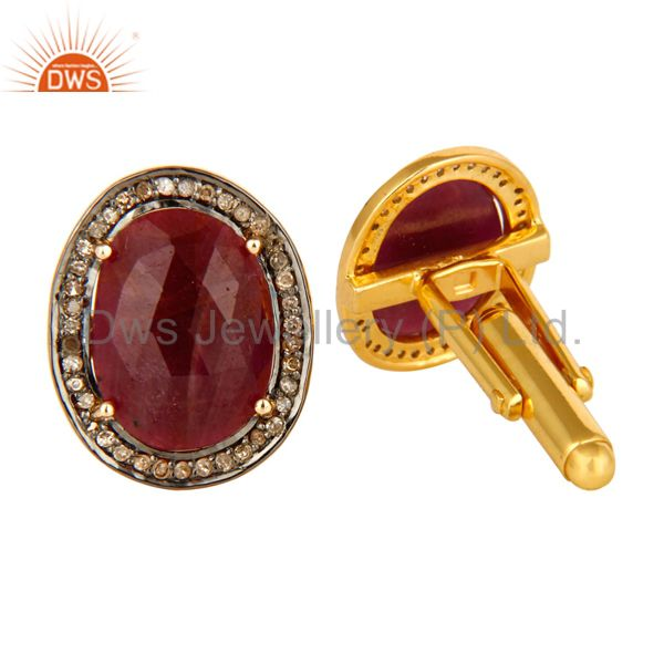 Exporter Pave Set Diamond And Ruby Gemstone Cufflinks Made In 18K Gold On Sterling Silver