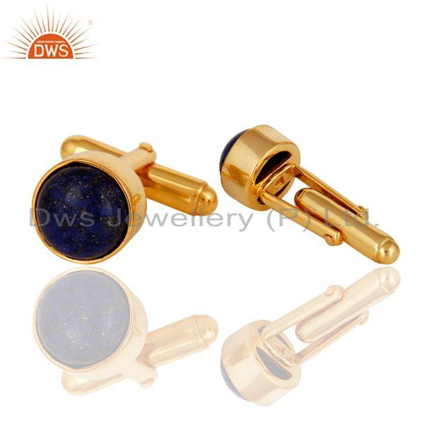 Exporter Lapis Cuff Link Wholesale 14 K Gold Plated Sterling Silver Jewelry