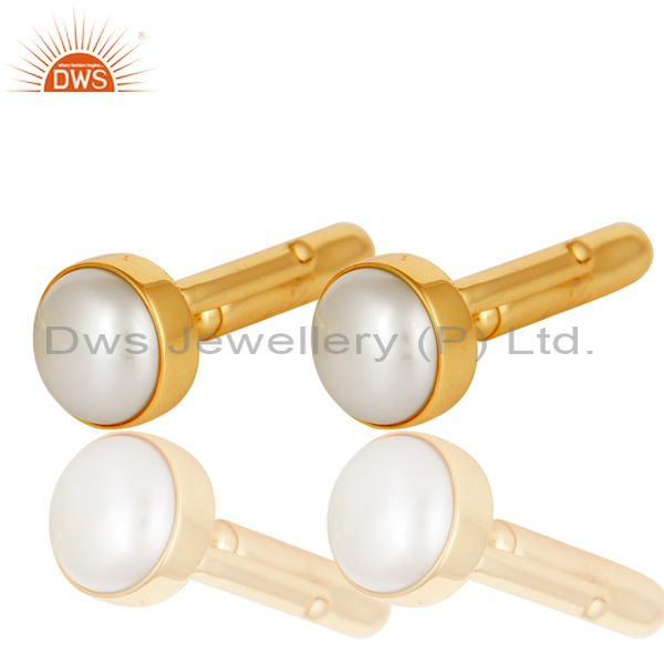 Exporter Handmade Pearl 925 Sterling Silver Mens Fashion Cuff Links With Gold Plated