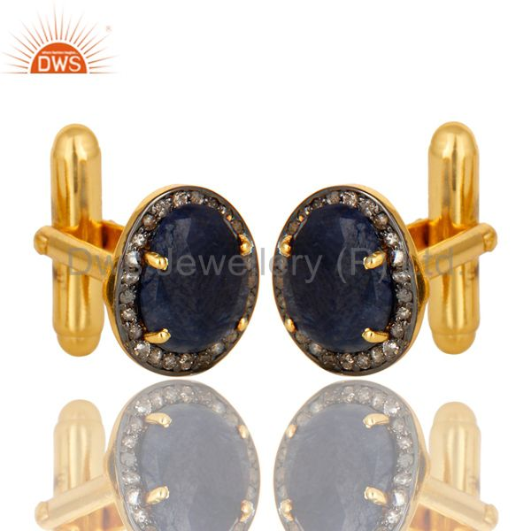 Exporter 18K Yellow Gold Sterling Silver Pave Diamond And Blue Sapphire Cufflinks Jewelry