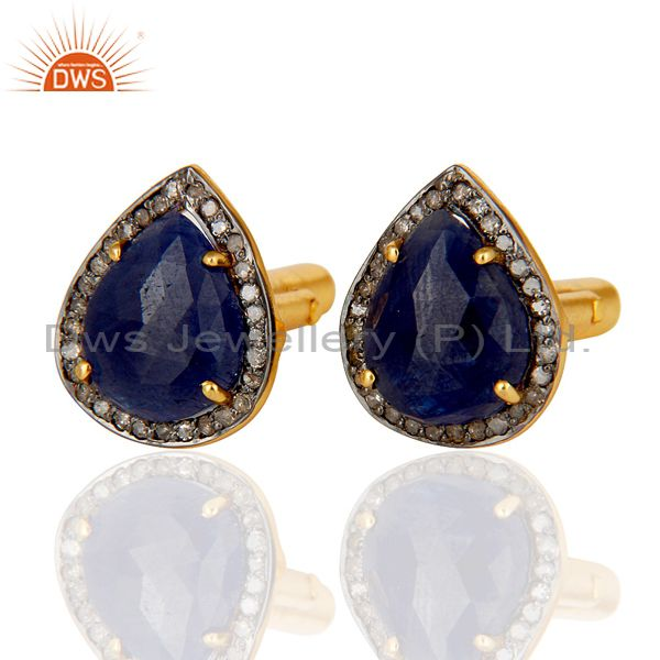 Exporter Blue Sapphire and Pave Diamond 18K Gold Plated 925 Silver Cufflink Mens Jewelry