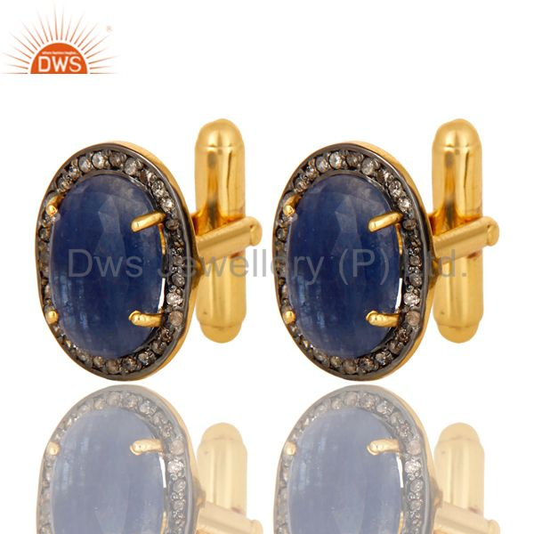 Exporter 14K Yellow Gold Sterling Silver Pave Diamond And Blue Sapphire Cufflinks Jewelry