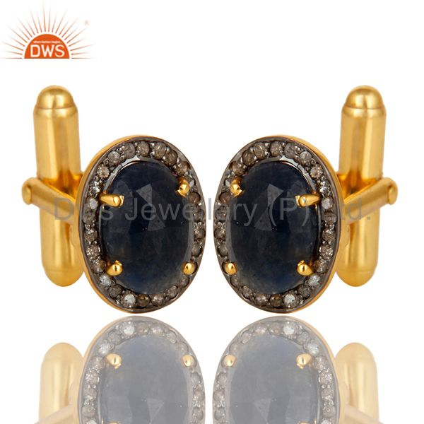 Exporter Pave Diamond And Blue Sapphire Cufflinks Made In 18K Yellow Gold Sterling Silver