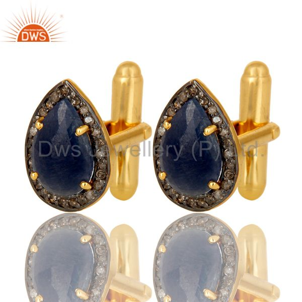 Exporter 18K Yellow Gold Over Sterling Silver Pave Diamond And Blue Sapphire Cufflinks