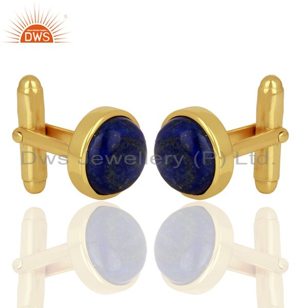 Exporter Yellow Gold Plated  Lapis Gemstone Mens Cufflink Jewelry Manufacturer