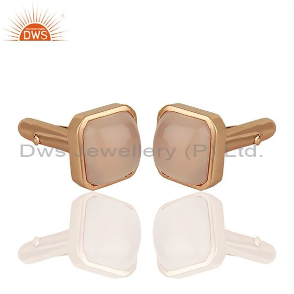 Exporter Rose Gold Plated Sterling Silver Mens Cufflink Jewelry Manufacturer