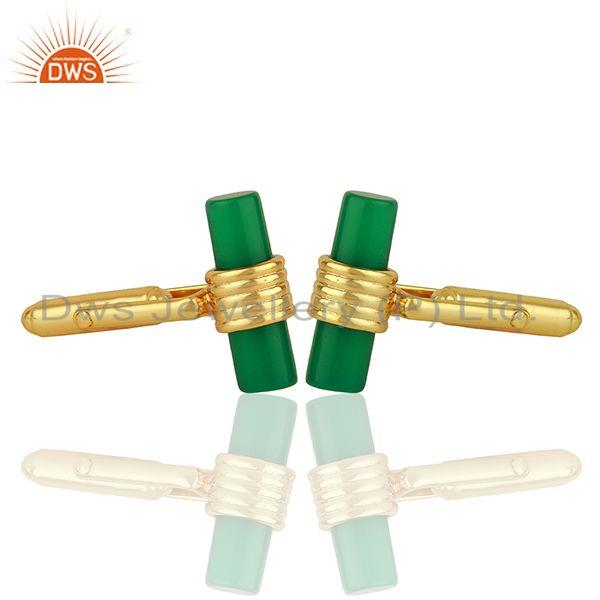 Exporter Natural Green Onyx Gemstone Gold Plated Silver Mens Cufflink Supplier