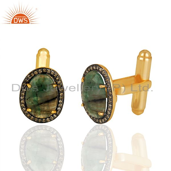 Exporter Natural Emerlad Gemstone Pave Diamond 925 Sterling Silver Gold Plated Cufflinks
