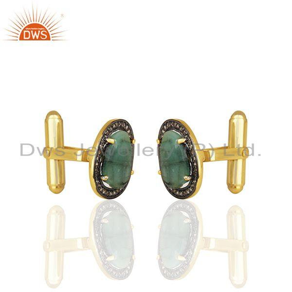 Exporter Natural Diamond and Emerald Birthstone Gold Plated Silver Mens Cufflinks
