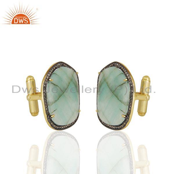 Exporter Handmade 925 Silver Emerald and Pave Diamond Mens Cufflinks Jewelry Wholesale
