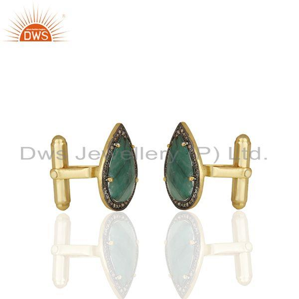 Exporter Natural Emerald and Pave Diamond Mens Cufflink Jewelry Manufacturer from India