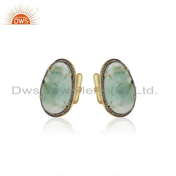 Exporter Handmade 925 Silver Gold Plated Pave Diamond and Emerald Birthstone Cufflinks