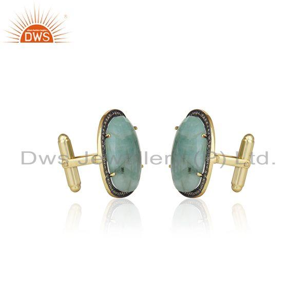 Exporter 14k Gold Plated 925 Silver Pave Diamond And Emerald Gemstone Cufflinks For Mens
