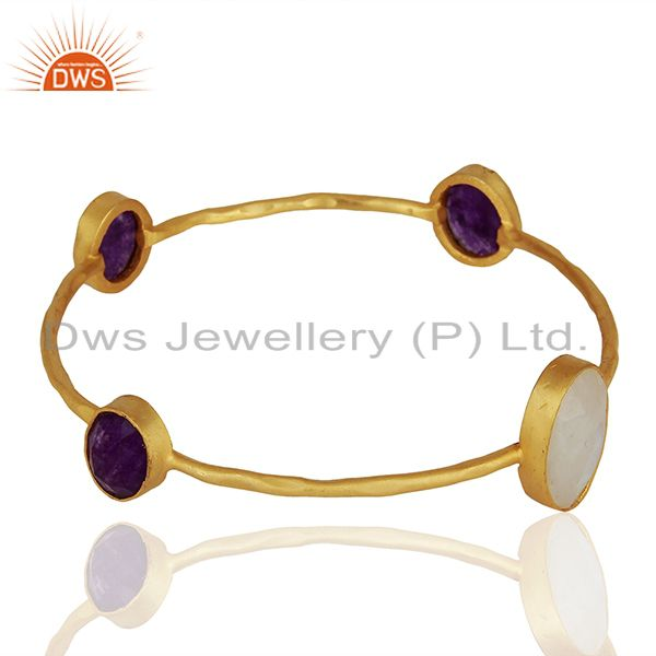 Supplier of Handmade gold on brass fashion multi gemstone bangle manufacturers