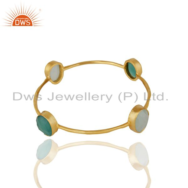 Supplier of Multi gemstone gold plated brass fashion women bangle wholesale