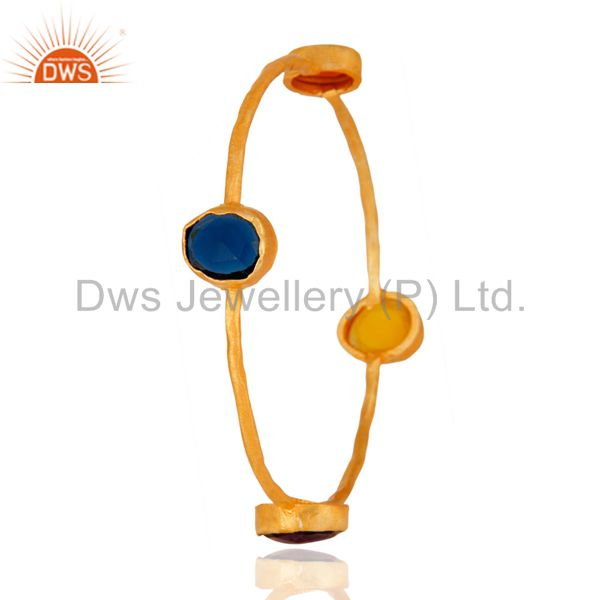 Supplier of Handmade 22k yellow gold plated natural amethyst chalcedony bangle