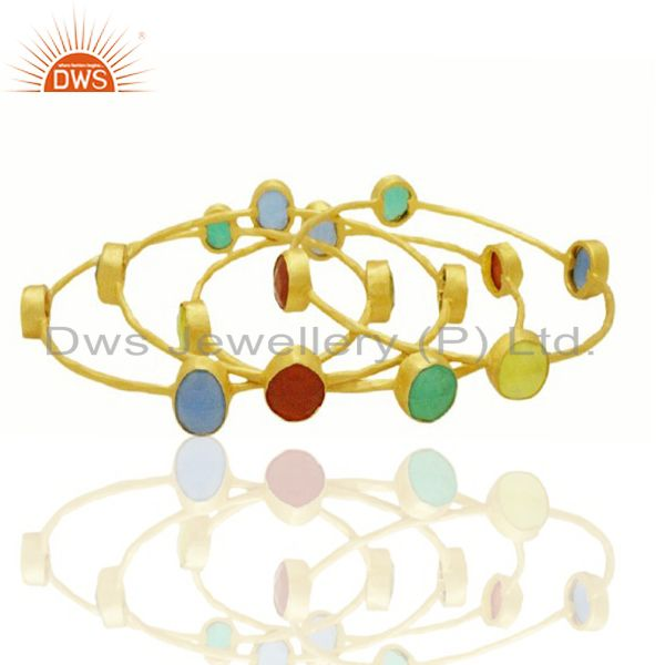 Supplier of 22k yellow gold multi semi precious stone hammered stackable ring