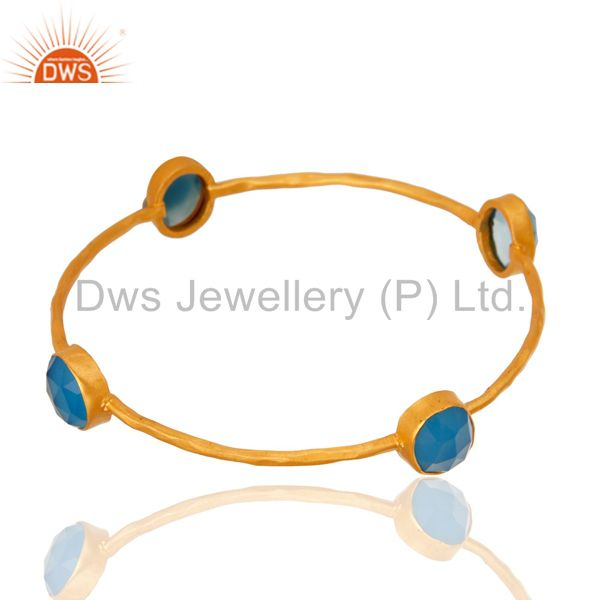 Supplier of Faceted blue chalcedony gemstone bangle 22k yellow gold over brass