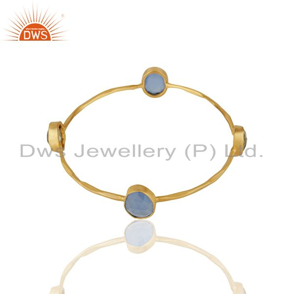 Supplier of Handmade gold plated brass fashion multi gemstone women bangle