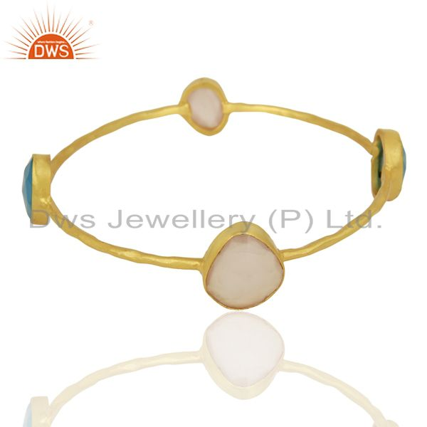 Exporter Blue Chalcedony Rose Chalcedony 14K Yellow Gold Plated Brass Bangle Jewelry