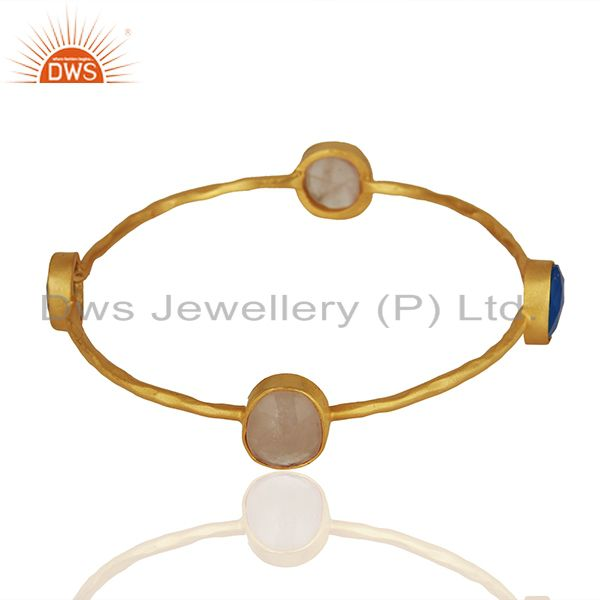 Supplier of Dyed chalcedony rose quartz 18k gold plated stackable brass bangle