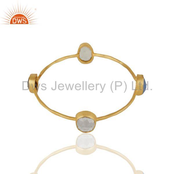 Supplier of Handmade gold plated brass fashion gemstone women bangle wholesale