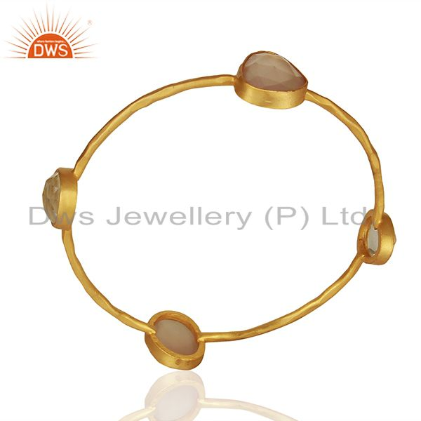 Supplier of Rose chalcedony gemstone gold plated fashion bangle manufacturers