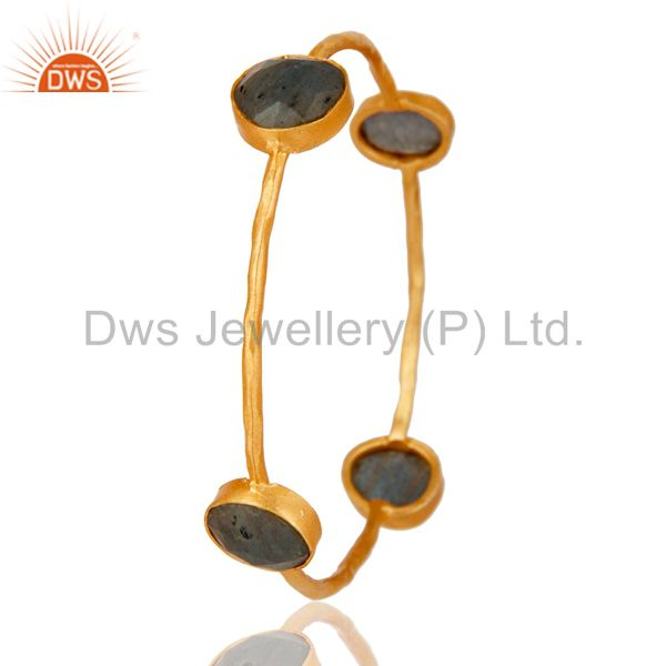 Supplier of 18k gold plated handmade natural labradorite brass stackable bangle