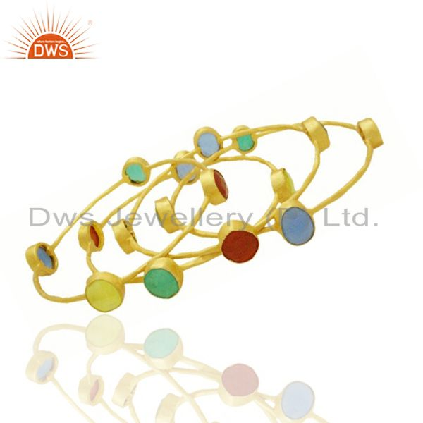 Supplier of 22k yellow gold brass natural semi precious stone stackable bangle