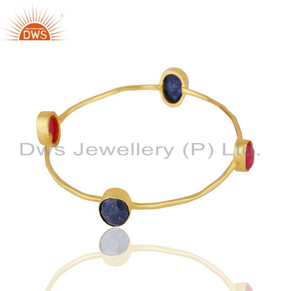 Supplier of Pink chalcedony and lapiz lazuli gemstone fashion bangle wholesale